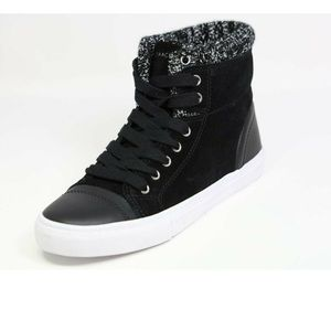 Like New Isaac Mizrahi Knit Trim Hi-top Sneakers